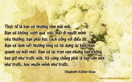 Danh nhân - Danh ngôn Elisabeth Kübler-Ross - Thực tế là bạn sẽ thương tâm mãi mãi. Bạn sẽ không 'vượt qua' việc mất