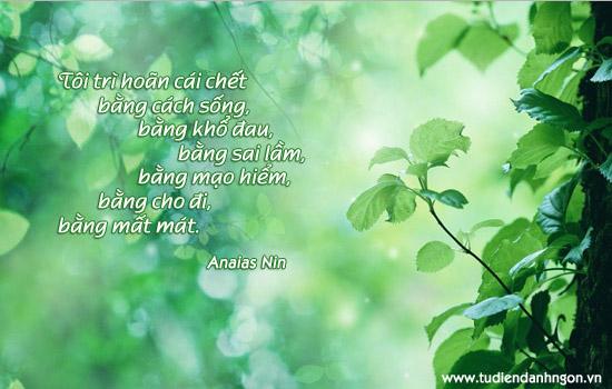 Danh nhân - Danh ngôn Anaias Nin - Tôi trì hoãn cái chết bằng cách sống, bằng khổ đau, bằng sai lầm, bằng