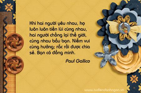 Danh ngôn Paul Gallico, danh ngôn tình yêu, lời hay ý đẹp, danh ngôn đồng hành