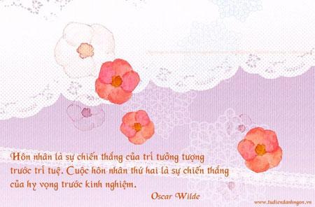 Danh nhân - Danh ngôn Oscar Wilde - Hôn nhân là sự chiến thắng của trí tưởng tượng trước trí tuệ. Cuộc hôn