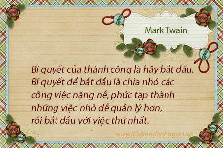Danh ngôn thành công, danh ngôn Mark Twain, danh ngôn về sự bắt đầu