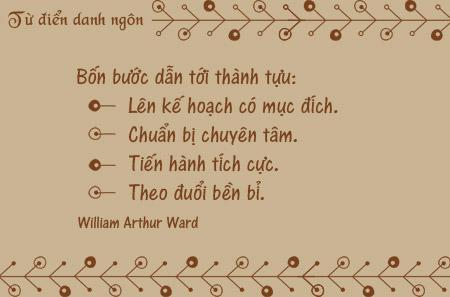 Danh ngôn về thành tựu, danh ngôn về kế hoạch, danh ngôn về chuẩn bị, danh ngôn về sự bền bỉ, danh ngôn về mục đích, danh ngôn William Arthur Ward