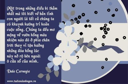 Danh ngôn về sự trì hoãn, danh ngôn về sự mơ mộng, lời hay ý đẹp, danh ngôn Dale Carnegie